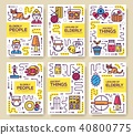 Grannys day thin line icons design cards.  40800775