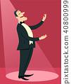 Opera singer man sings in theater 40800999