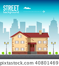 Home building in city space with road on flat syle 40801469