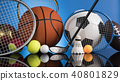 Group of sports equipment 40801829