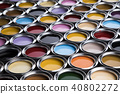 Collection of colored paints cans 40802272