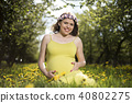 Spring, Young beautiful pregnant woman 40802275