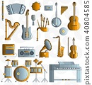 Variety of different music instruments and playing 40804585