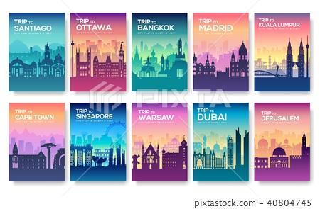 Travel information cards. Landscape template  40804745