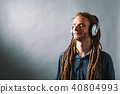 Man with headphones on a solid background 40804993