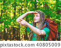 Male hiker with backpack pointing at something ahead 40805009