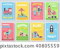 Kids playground field  brochure cards set. staff 40805559