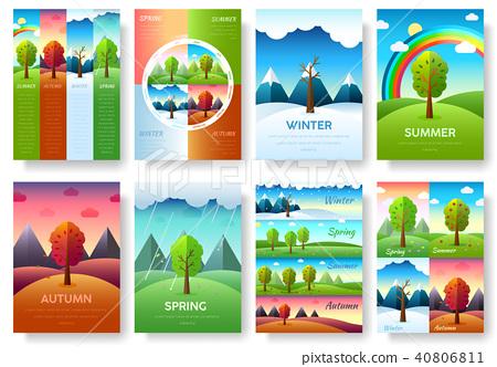 Weather seasons icons on nature ecology  40806811