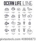 dedicated to undersea vector brochure lines set. 40806873