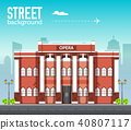 Opera building in city space with road 40807117