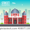 church building in city space with road  40807118
