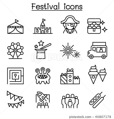 Amusement park & Festival icon set in thin line st 40807178