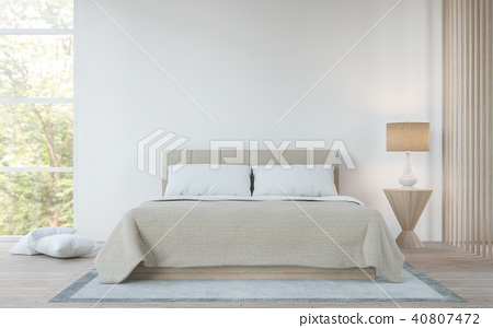 Modern white  bedroom in the forest 3d render 40807472