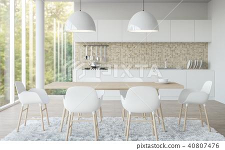Modern white dining  room 3D render 40807476