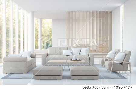 Modern white living room and bedroom 3D render 40807477
