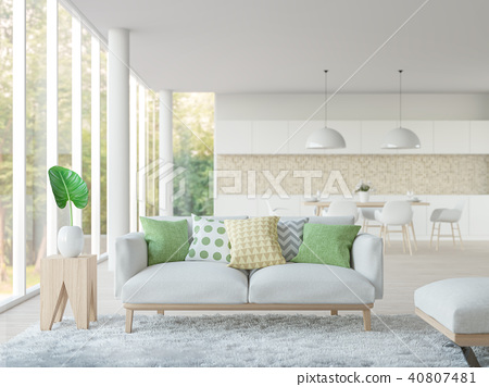 Modern white living and dining room 3d render 40807481