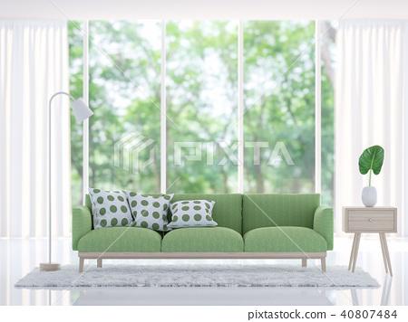 Modern white living room with green sofa 3d render 40807484