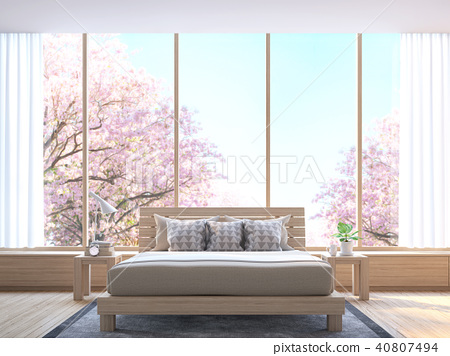 Modern contemporary bedroom 3d render 40807494