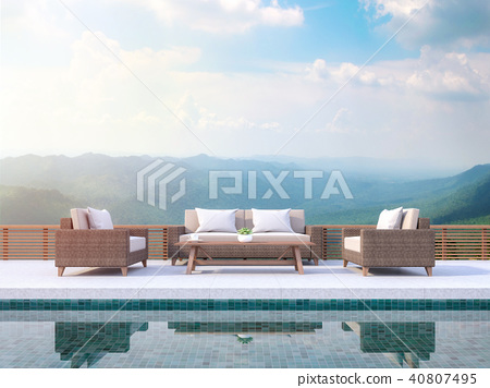 Pool terrace with mountain view 3d render 40807495