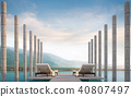 Swimming pool terrace with mountain view 3d render 40807497