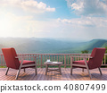 Contemporary terrace with mountain view 3d render 40807499