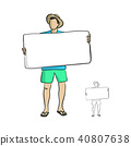 man holding big blank sign vector 40807638