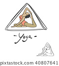 woman yoga poses in triangle vector illustration  40807641