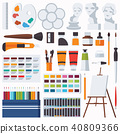 Vector flat set with fine artist stationery.  40809366