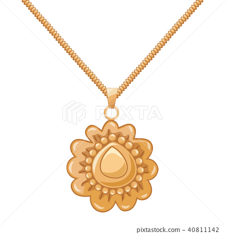 Necklace gold chain pendant. vector illustration. 40811142