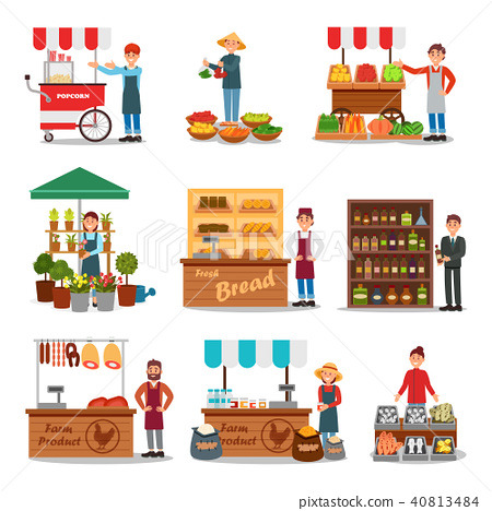 Flat vector set of street vendor selling various products. Seller near cart. Local farmers market 40813484