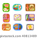 Flat vector set of lunch boxes plastic trays with delicious meal. Appetizing food. Salmon fish 40813489