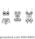 Set of retro lingerie pieces made of linear flower 40816803