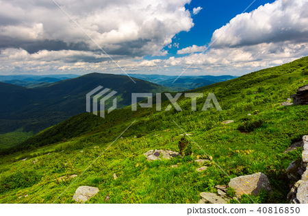 landscape of Runa mountain with boulders on hills 40816850