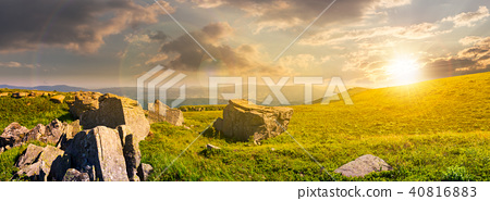 beautiful panorama of Runa mountain at sunset 40816883