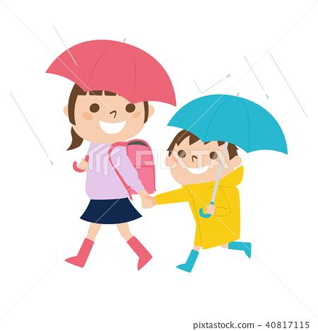 走一个小学女孩和的男孩的例证穿雨衣在一个雨天 40817115