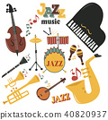Jazz musical instruments tools icons jazzband piano saxophone music sound vector illustration rock 40820937