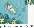 Woman take a rest in a swimming pool 40822699