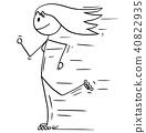 Cartoon of Inline Roller Skating Woman or Girl 40822935