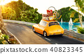 Cute little retro car with suitcases  40823345
