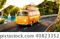 Cute little retro car with suitcases  40823352