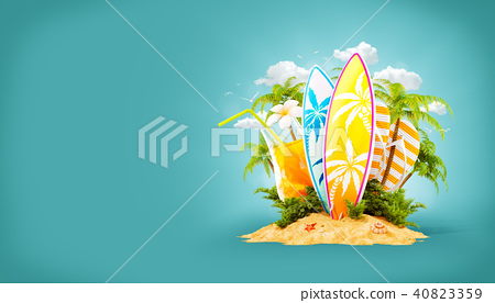 Surf boards on paradise island 40823359