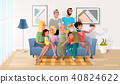 Selfie Photo of Big Happy Family Cartoon Vector 40824622