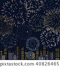 Night view of the city with fireworks 40826465