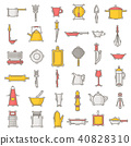 Kitchenware vector seamless pattern cookware for cooking and kitchen utensils or cutlery for 40828310