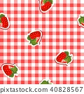 seamless pattern with red canvas and strawberries 40828567