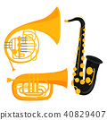 Wind musical instruments tools acoustic musician equipment orchestra vector illustration 40829407