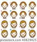 年轻的棕色办公室工作者男人和女人西装脸表达可爱的图标集 40829425