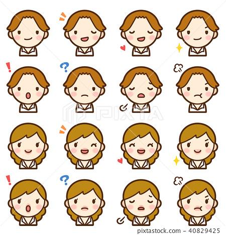 젊은 갈색 머리 직장인 남녀 정장 얼굴 표정 귀여운 아이콘 세트 40829425
