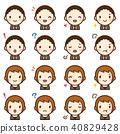 30多歲的辦公室工作者男人和女人適合面部表情可愛的圖標集 40829428