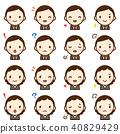 中年辦公室工作者男人和女人適合表情可愛的圖標集 40829429